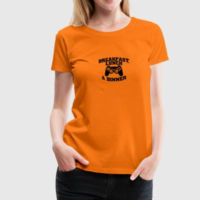 Gamer breakfast lunch and dinner - Frauen Premium T-Shirt