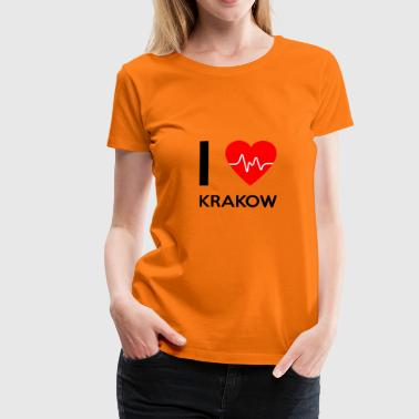 J'aime Cracovie - I love Cracovie - T-shirt Premium Femme