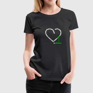 be different Kette Herz funny Chain Heart - Frauen Premium T-Shirt