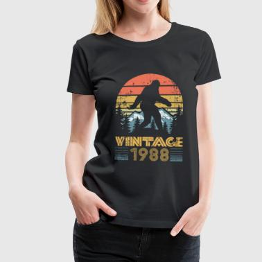 1988 vintage vintage birth year mountains bigfoot - Women's Premium T-Shirt