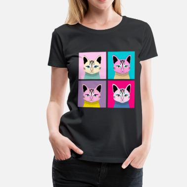 Art Pop Art Cat - Meow - T-shirt Premium Femme