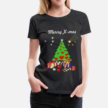Merry Merry X-mas, Christmas Tree with decorations. - Women's Premium T-Shirt