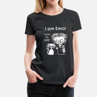 Emo I am Emo. I love my cat. Cat love emoticon - Women's Premium T-Shirt