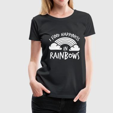 LGBT Gay Pride Lesbian I find Happines in Rainbows white - Women's Premium T-Shirt