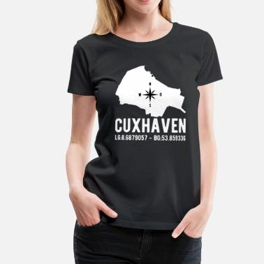 Longitude And Latitude Cuxhaven latitude latitude city outline - Women's Premium T-Shirt