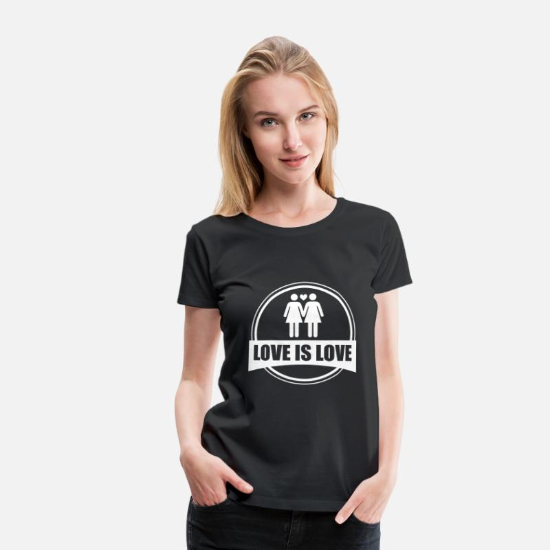 Gay Camisetas - LOVE IS LOVE LESBIAN 2 - Camiseta premium mujer negro