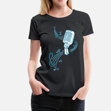Microphone Music, clef with retro microphone - Women's Premium T-Shirt