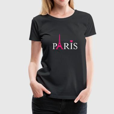 Paris Eiffel Tower And heart French Pride France - Women's Premium T-Shirt