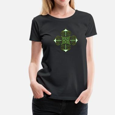 Runskrift Chaos Star, Symbol of chaos, green / gold, Everything has meaning and magic power! Power symbol, Energy symbol - Premium-T-shirt dam