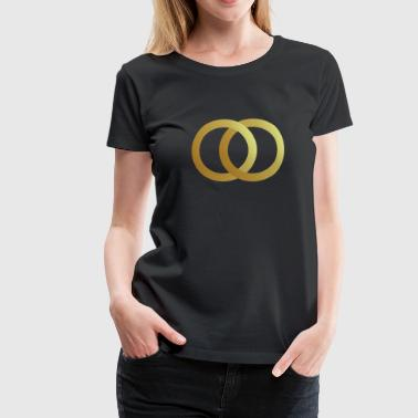 Two golden Rings for Marriage and Wedding - Women's Premium T-Shirt