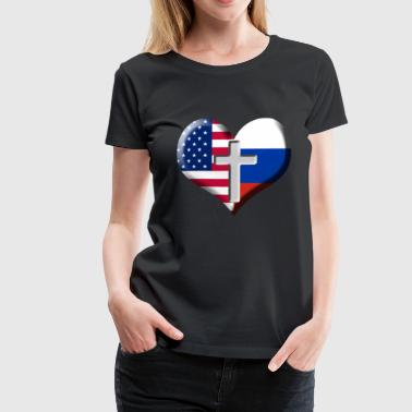 USA og Rusland Heart with Cross - Dame premium T-shirt