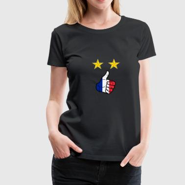 Pouce Bleu Pouce en l'air champion du monde de football France - T-shirt Premium Femme