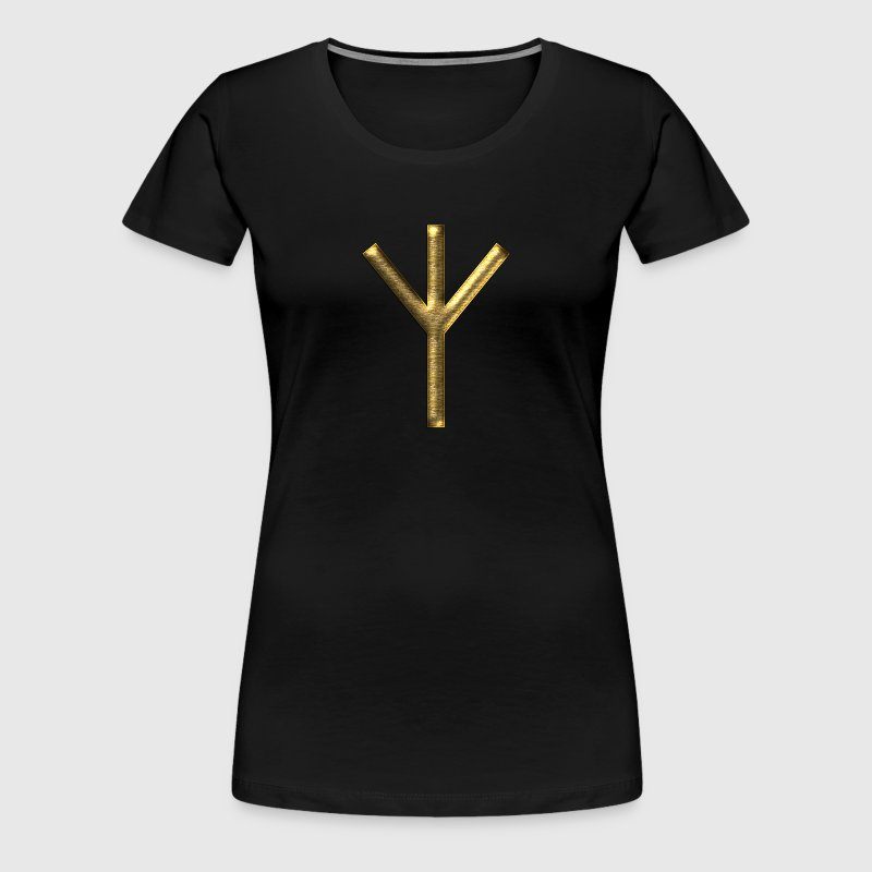 Algiz Rune - Connection with Asgard / Protection I - Women's Premium T-Shirt