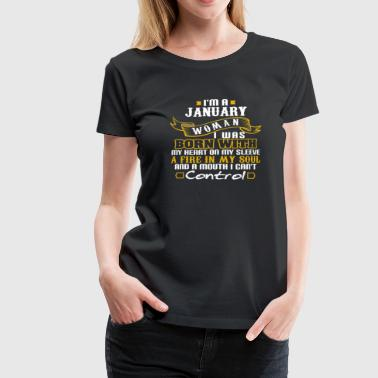 Woman Born With Heart on my sleeve January - Women's Premium T-Shirt