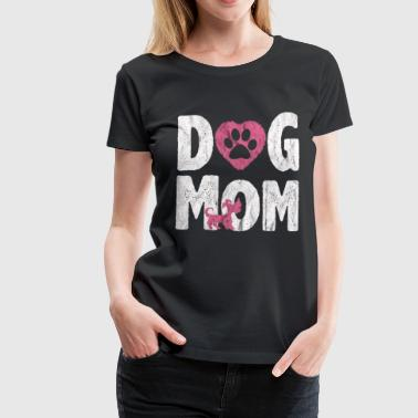 I Love Mom Dog Mom Schnauzer Pink Dogs Love Paw Gift - Premium-T-shirt dam