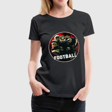 Cool Football Season Red Art Graphic Youth Helmet & Jersey on White on Black - Women's Premium T-Shirt