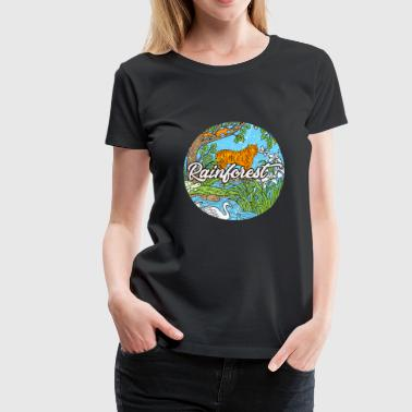 Tiger Rainforest Tropics Jungle Gift Retro - Premium-T-shirt dam