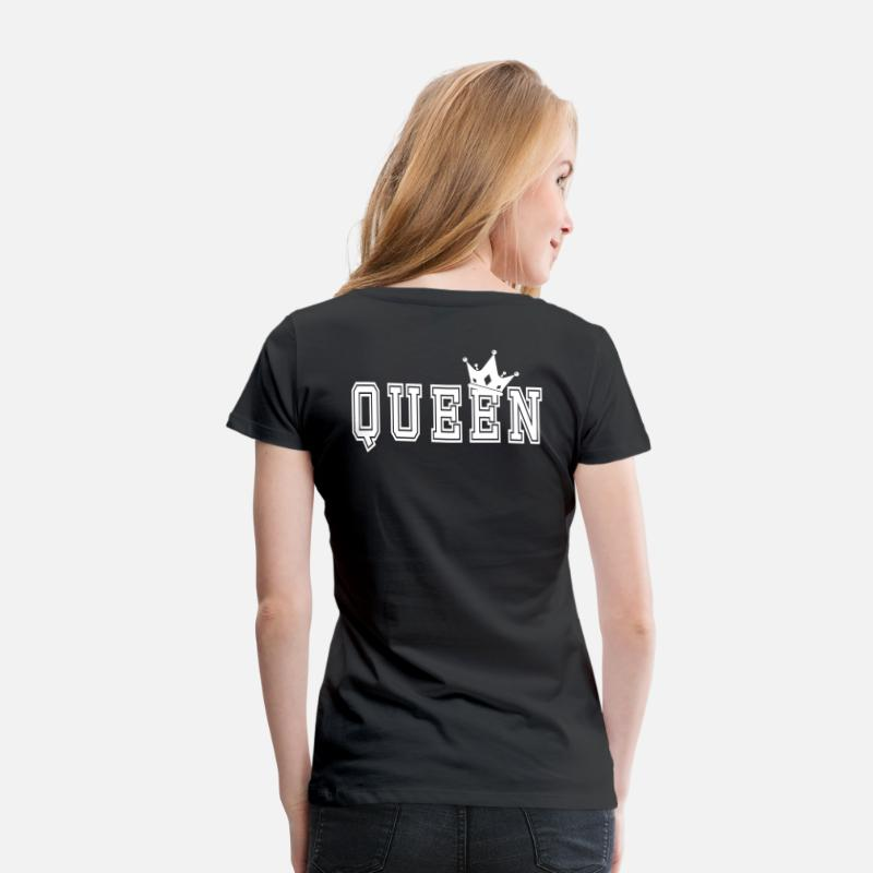 Couples T-Shirts - Valentine's Matching Couples Queen Jersey - Women's Premium T-Shirt black