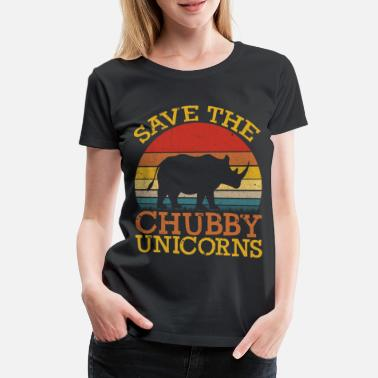 Spara Rolig Save the Chubby Unicorns Fat Rhino Vintage - Premium T-shirt dam