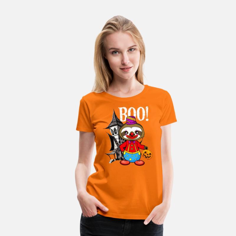 Clown Sloth Halloween Söt Sloth Joker Makeup Dark Premium T-shirt dam  b560ff183a845