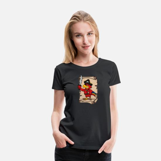 Ara T-Shirts - Pirate Parrot Buccaneer Gift Idea - Women's Premium T-Shirt black