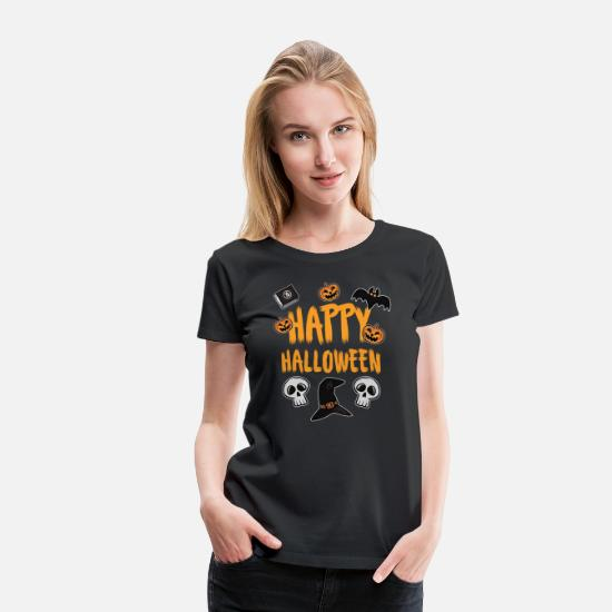 Bat T-Shirts - Happy Halloween - Women's Premium T-Shirt black