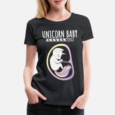 Fetus Pregnant unicorn in baby belly - Women's Premium T-Shirt
