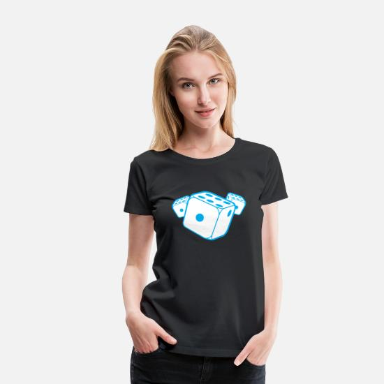 Die T-Shirts - three blue dice - Women's Premium T-Shirt black