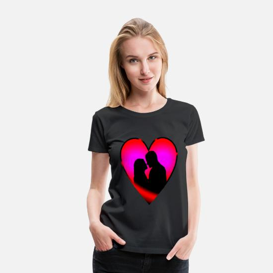 Love T-Shirts - Heart couple, loving couple, love - Women's Premium T-Shirt black
