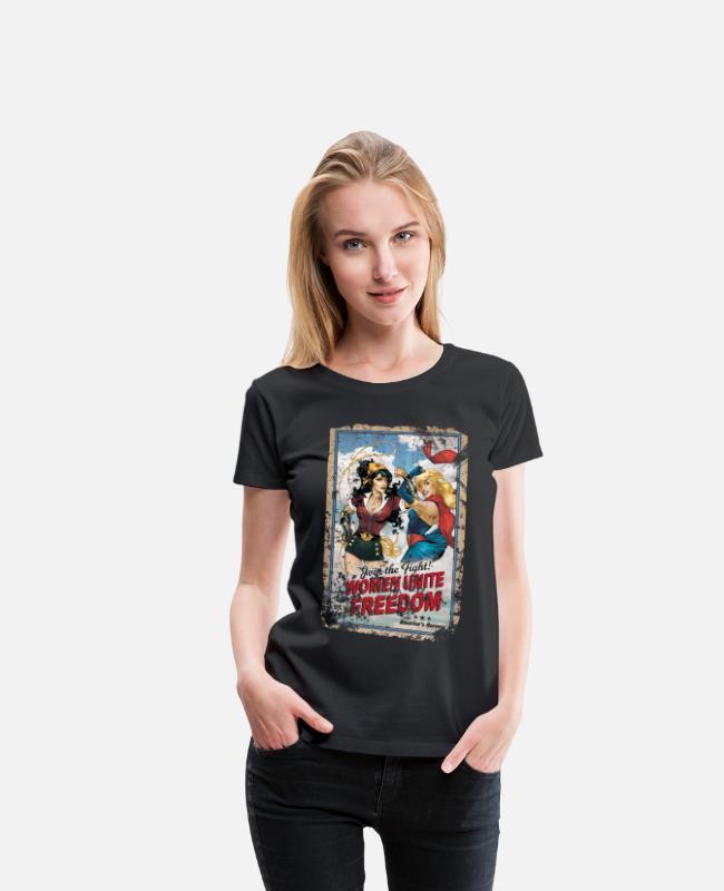 DC Comics Wonder Woman Bombshells Frauen T-Shirt mit gerollten Ärmeln