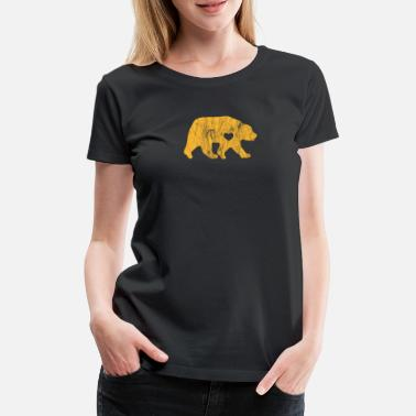 Sports Lover I Love Bears Gold Grizzly Polar Cubs Geometric - Women's Premium T-Shirt