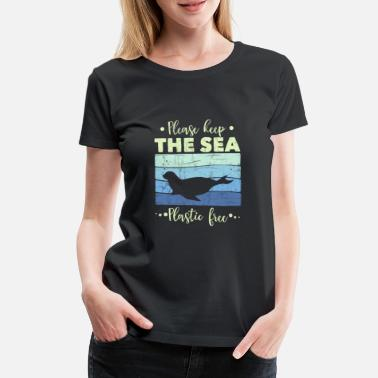 Message Seal Please Keep The Sea Plastic Free - Retro - Women's Premium T-Shirt