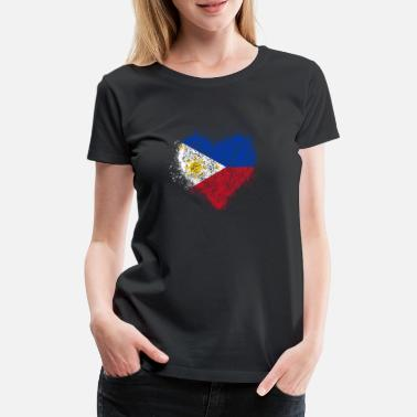Heart Heart of Philippines flagg vintage - Premium T-skjorte for kvinner