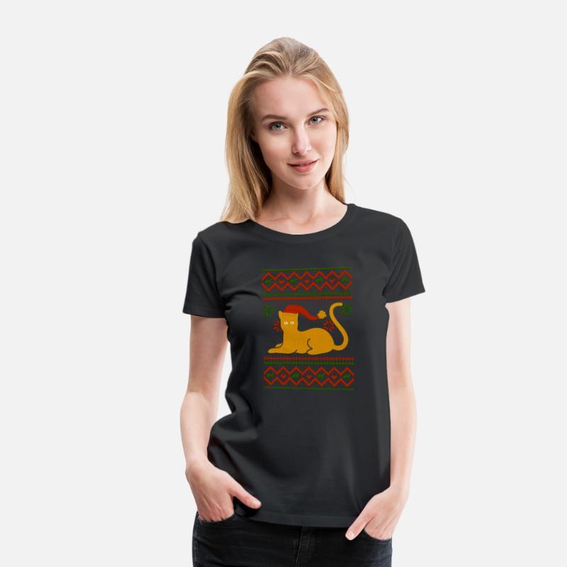 size 40 492c6 4d8ef Ugly Christmas Sweater Katzen Weihnachtspullover Frauen Premium T-Shirt -  Schwarz