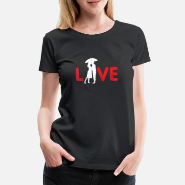 Love couple anniversary umbrella rain - Women's Premium T-Shirt