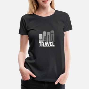 Shrine Shrine & Tower Travel Addict | Cool Tourist Flyer - Women's Premium T-Shirt