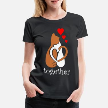 Couple Cat Cats Couple Loving couple - Women's Premium T-Shirt