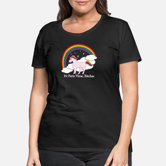 Party Time Unicorn Premium T shirt dam svart