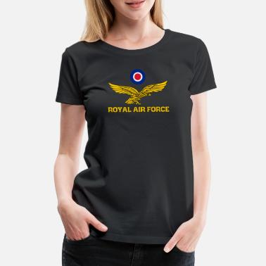 Royal Air Force Royal Air Force Roundel och Eagle Gold - Premium-T-shirt dam