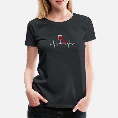 Heartbeat Wein Wine Heartbeat Love Drink Alcohol Gift T-Shirt - Frauen Premium T-Shirt