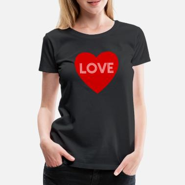 Red Sox LOVE in Heart White Red - T-shirt premium Femme