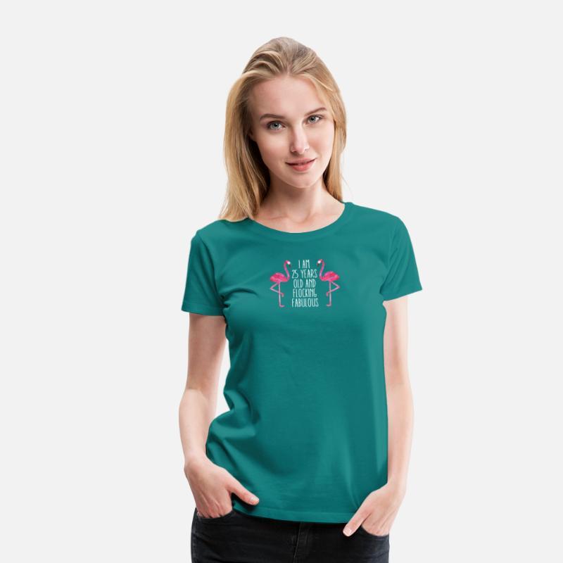 Fabulous Flamingo Birthday Gift 25 Years Womens Premium T Shirt