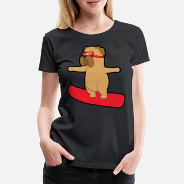 Dogs snowboard pug pug dog - Women's Premium T-Shirt