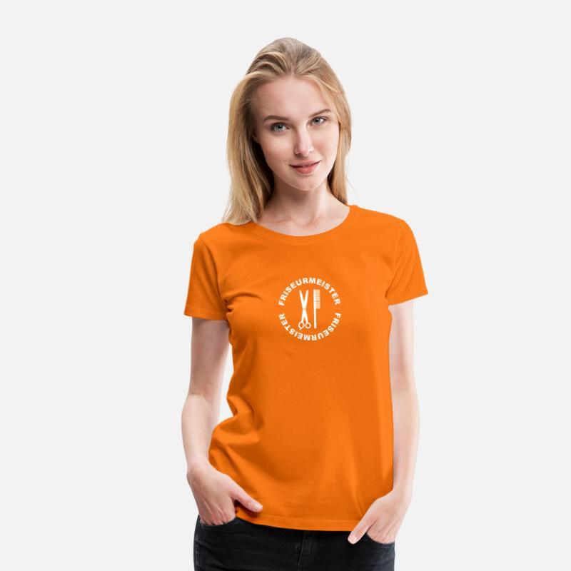 Shirt Orange Schere Kammamp; Femme T Premium Friseurmeister rWCdBexQoE