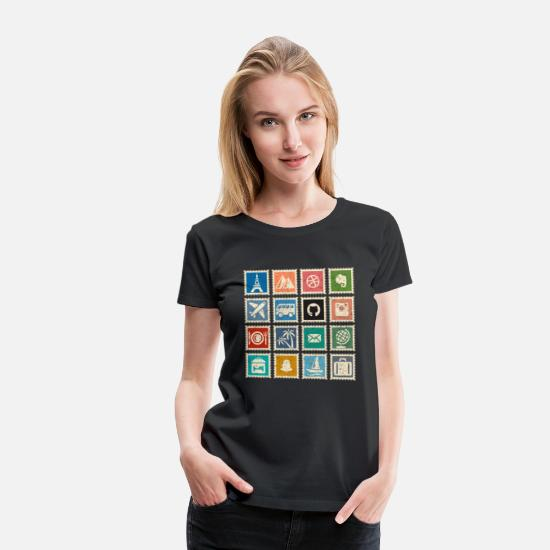 Gift Idea T-Shirts - Vintage Stamp Collector Collectible Stamp Collectio - Women's Premium T-Shirt black