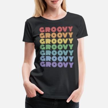 Ladies White Retro 70/'s Dance Disco Fashion Hippy Vintage Printed T-Shirt