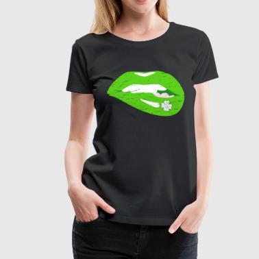 Sexy vintage kiss lips for St. Patrick's Day - Women's Premium T-Shirt