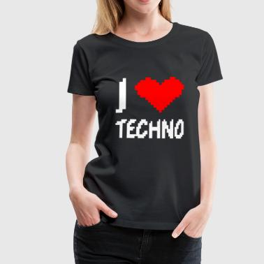 I Love Techno lage resolutie pixelated hart - Vrouwen Premium T-shirt