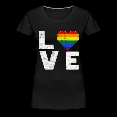 LGBT Pride Rainbow Color Love Heart Gay Pride - Women's Premium T-Shirt