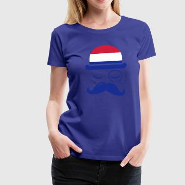 Holland fashionable retro iconic gentleman with flag sports | football | Championship | Moustache |  - Koszulka damska Premium